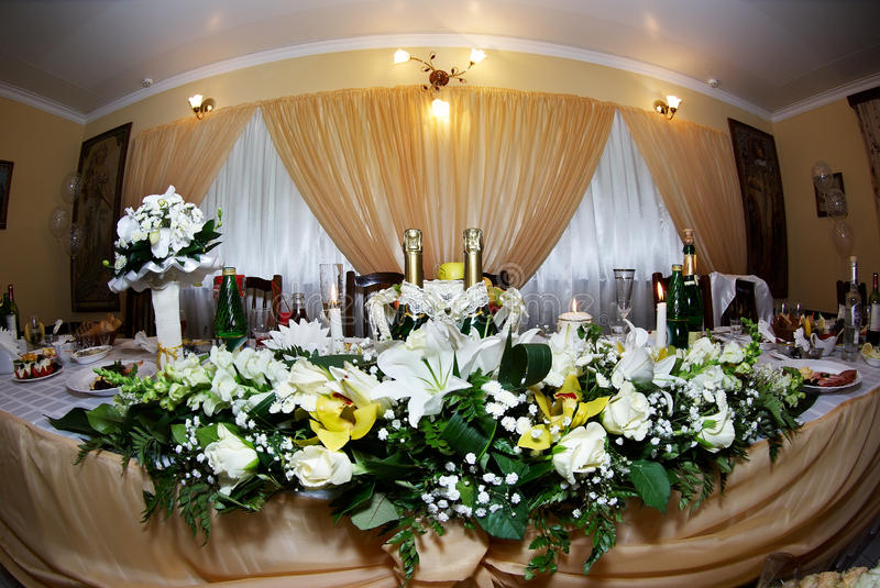 Download Wedding table with flowers stock image. Image of champagne - 17445105