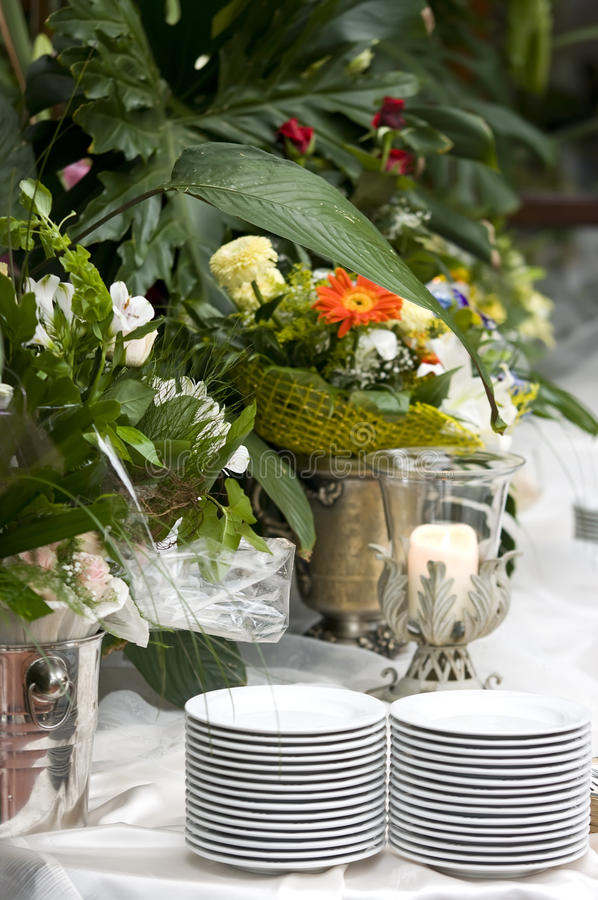 Wedding table in flowers stock images