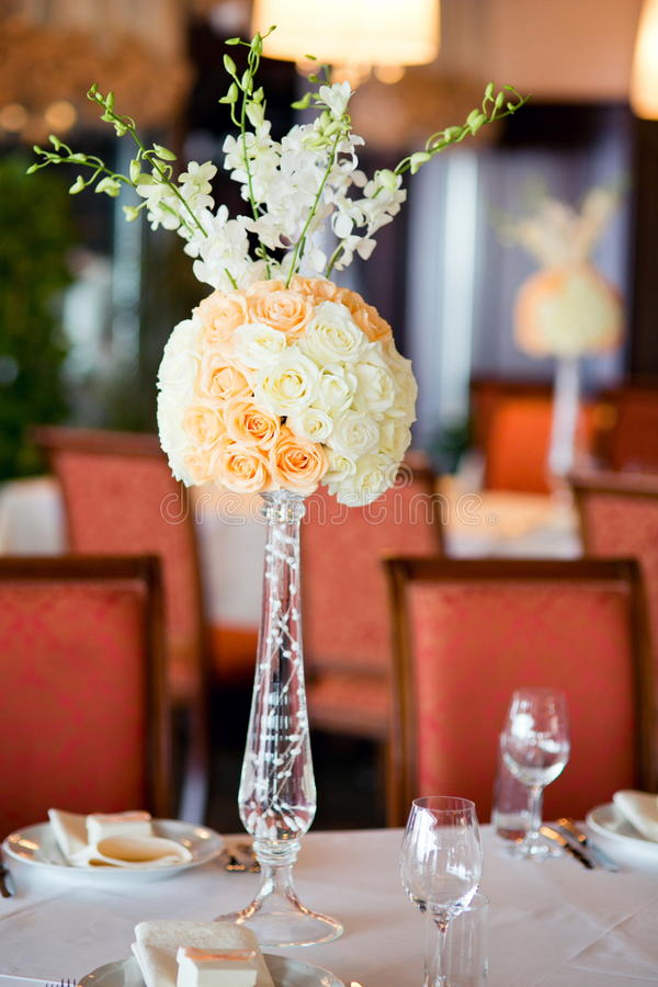Wedding table flowers decor stock photo