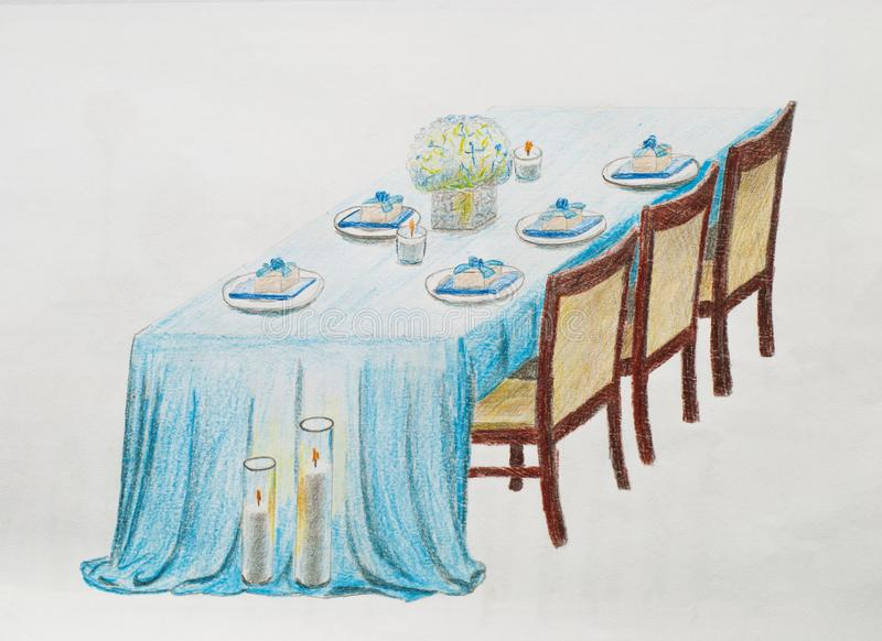 Wedding table. Hand draw on a white paper stock illustration