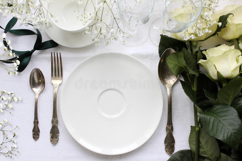 Wedding table Mockup. Vintage fashion photography. stock images