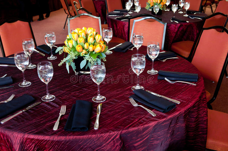 Download Wedding Table With A Red Tablecloth Stock Photo - Image: 23808512