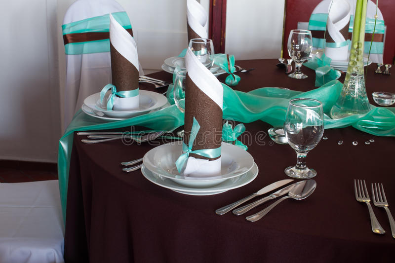 Wedding Table Set With Decoration For Fine Dining Or Another Catered ...