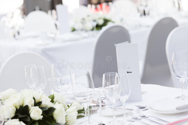 Wedding table. Set for dining,indoor wedding party stock image