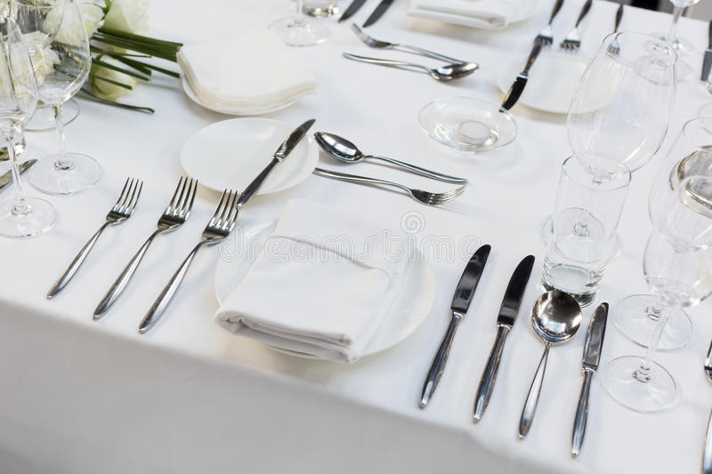 Wedding table. Set for dining,indoor wedding party stock images