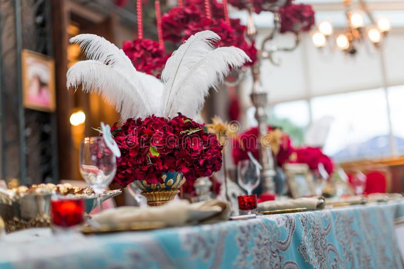 Wedding table. Set for dining,indoor wedding scene stock images
