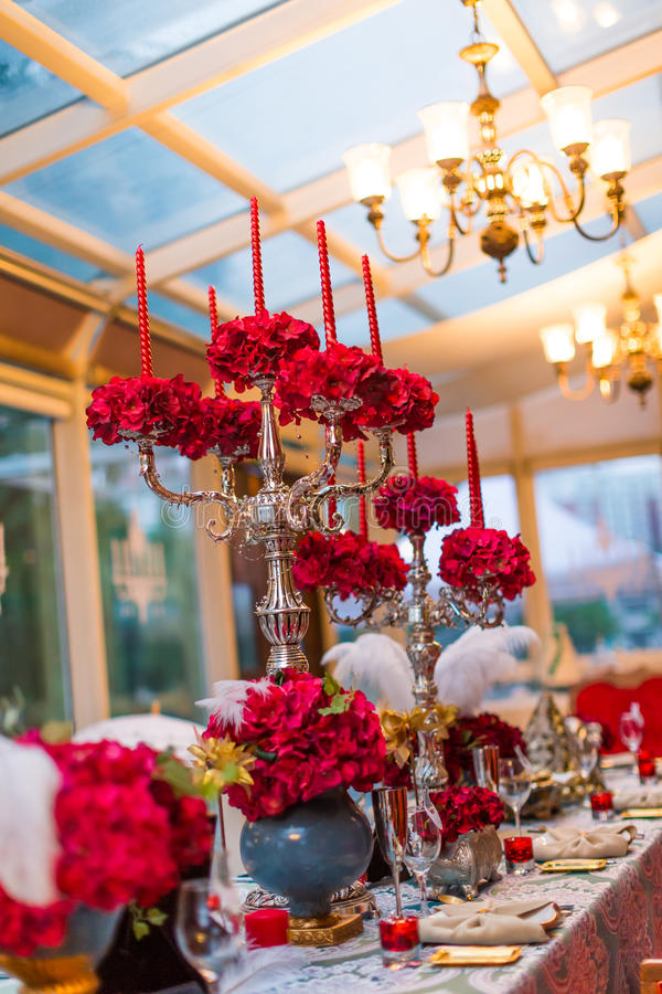 Wedding table. Set for dining,indoor wedding scene stock image