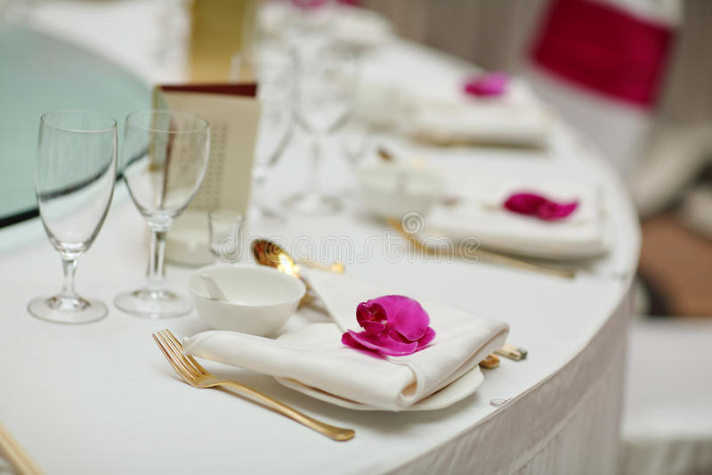 Wedding table. Set for dining,indoor wedding scene royalty free stock photography