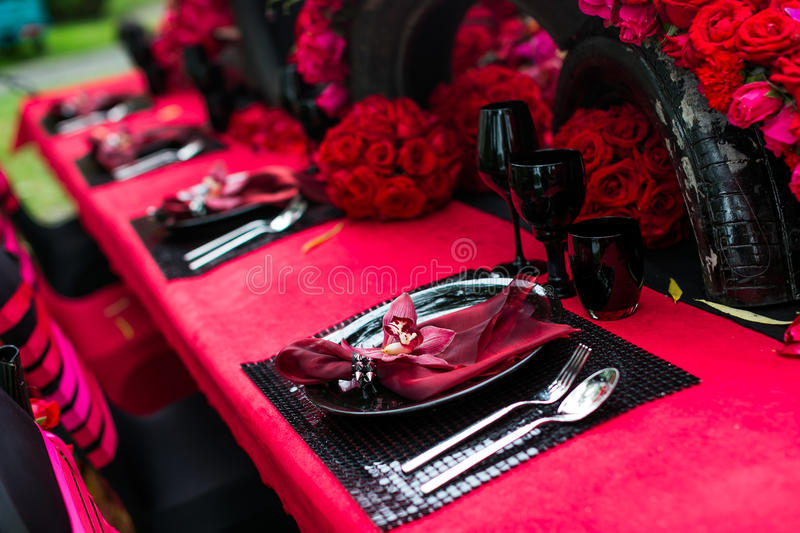 Wedding table. Set for dining,outdoor wedding scene stock photo