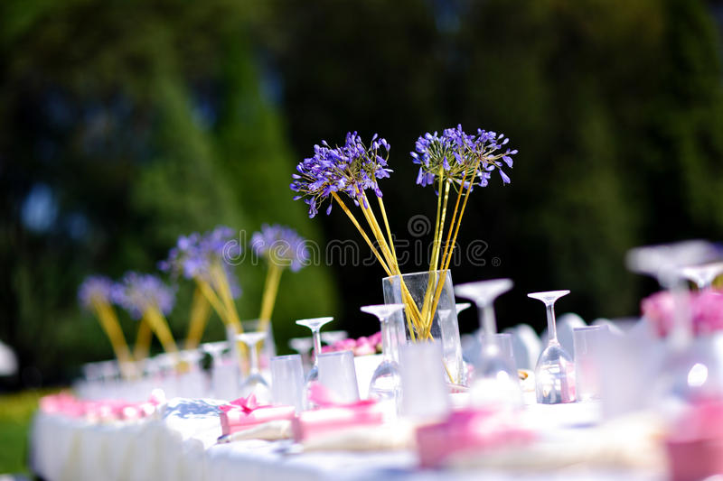 Wedding table. Set for dining at an outdoor wedding royalty free stock image