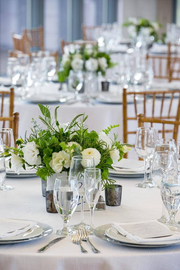 Wedding table set for fine dining at a fancy catered event - wedding table series stock photography