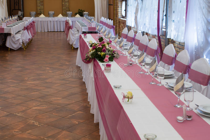 Wedding table set royalty free stock photos