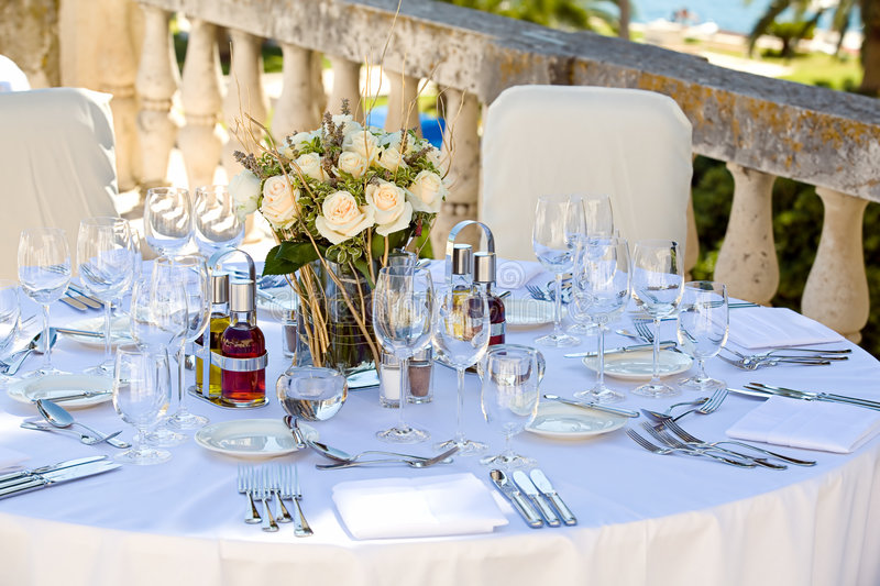 Wedding table setting stock photography