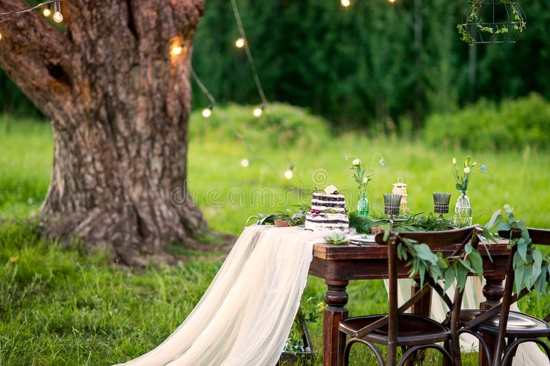 Rustic wedding table for two in the field at the pine tree. Chairs and honeymooners table decorated stock images
