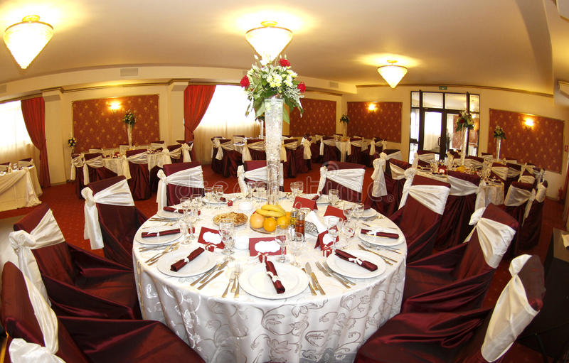 Wedding tables. Tables prepared for party or formal celebration of wedding or jubilee royalty free stock photo