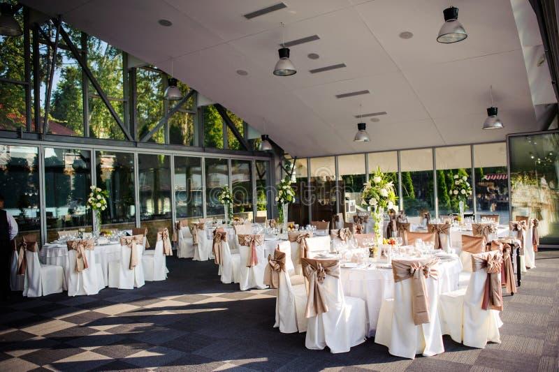 Wedding tables setting royalty free stock image