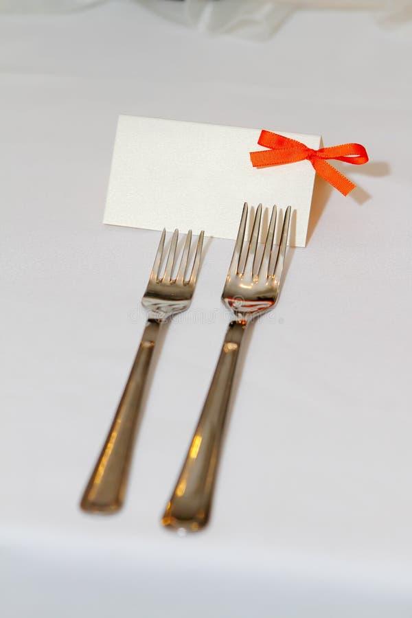 Wedding tag with orange ribbon royalty free stock images