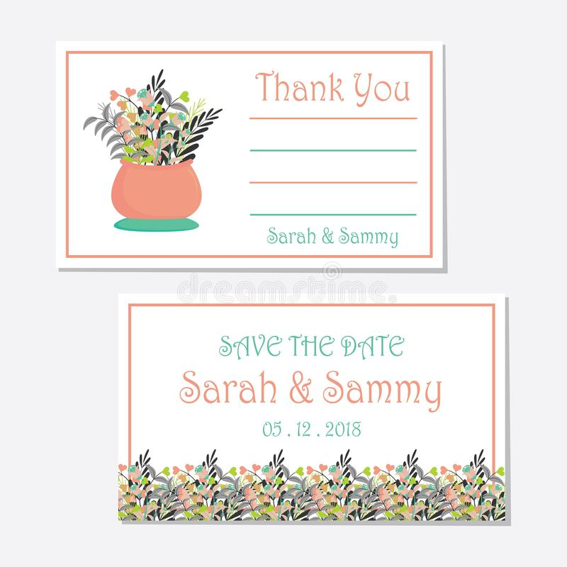 Wedding tag set design template with a vase of flowers stock image