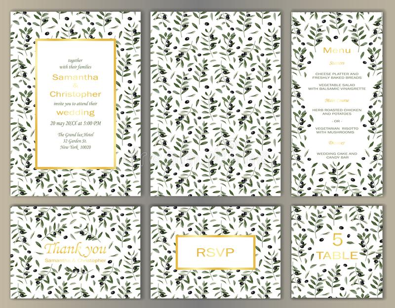 Wedding Template Set with Olive Brunches vector illustration