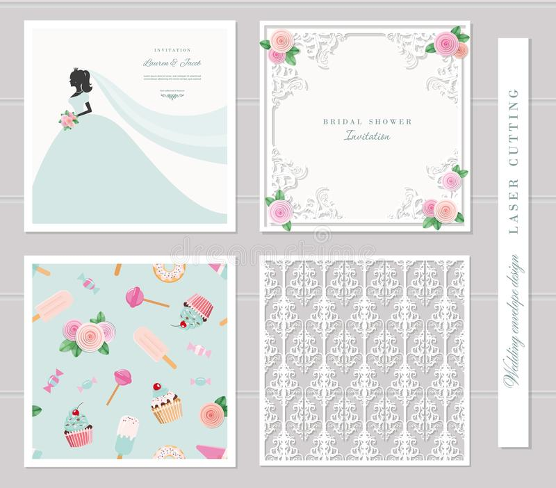 wedding templates set elegant cutout envelope design bride