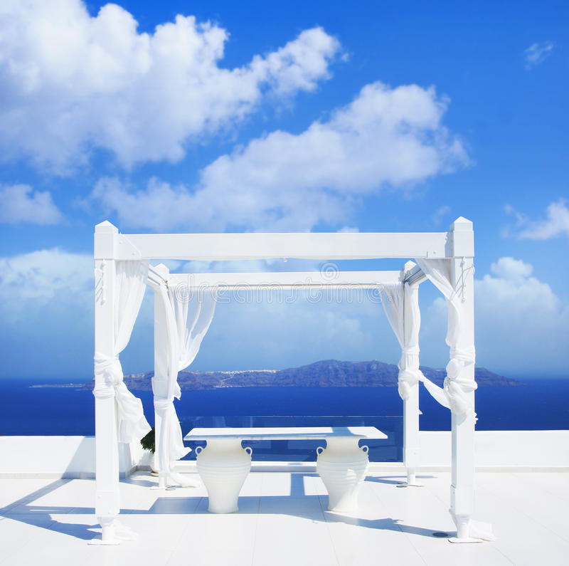 Free Wedding Tent On Santorini Island. Beautiful Sky. Stock Image - 68932571