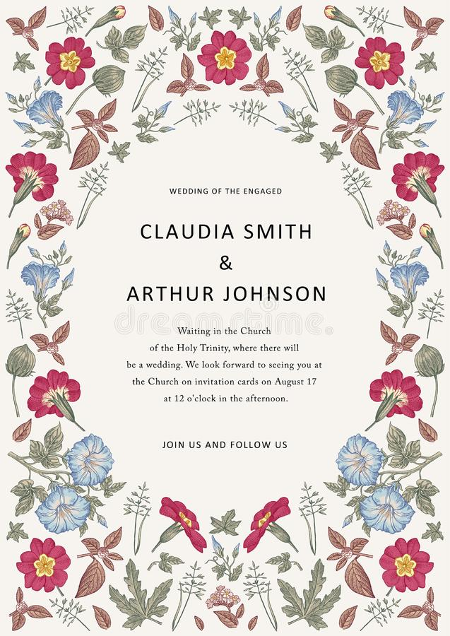 Wedding thanks invitation. Beautiful realistic flowers heliotrope card. Frame Petunia. Vector engraving victorian Illustration. Beautiful thanks white blooming vector illustration