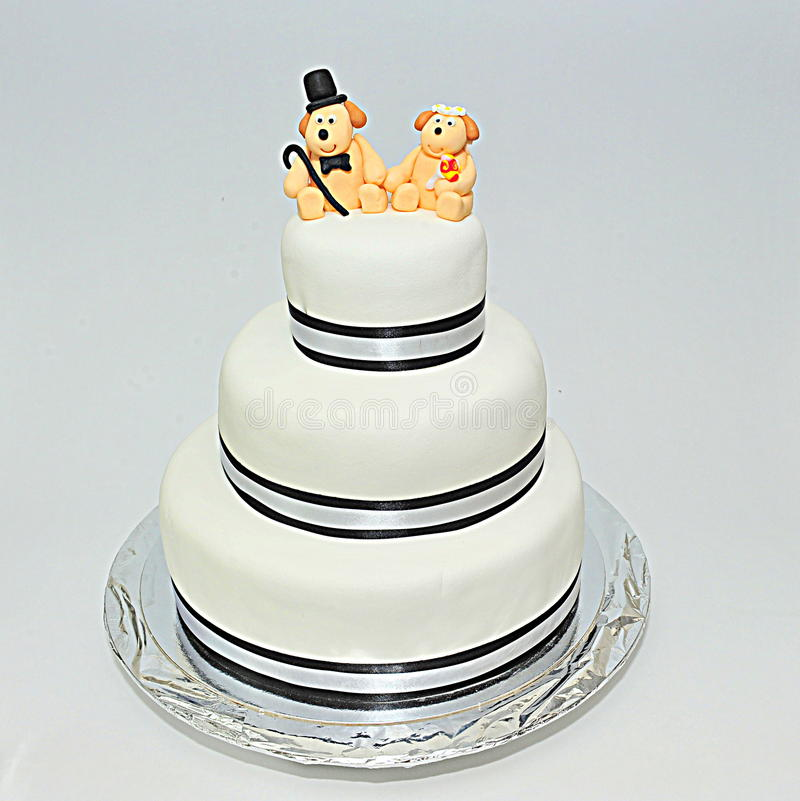 Wedding theme fondant cake stock photography