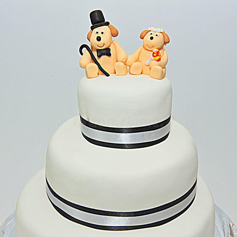 Wedding theme fondant cake. Fondant cake for a wedding royalty free stock photography