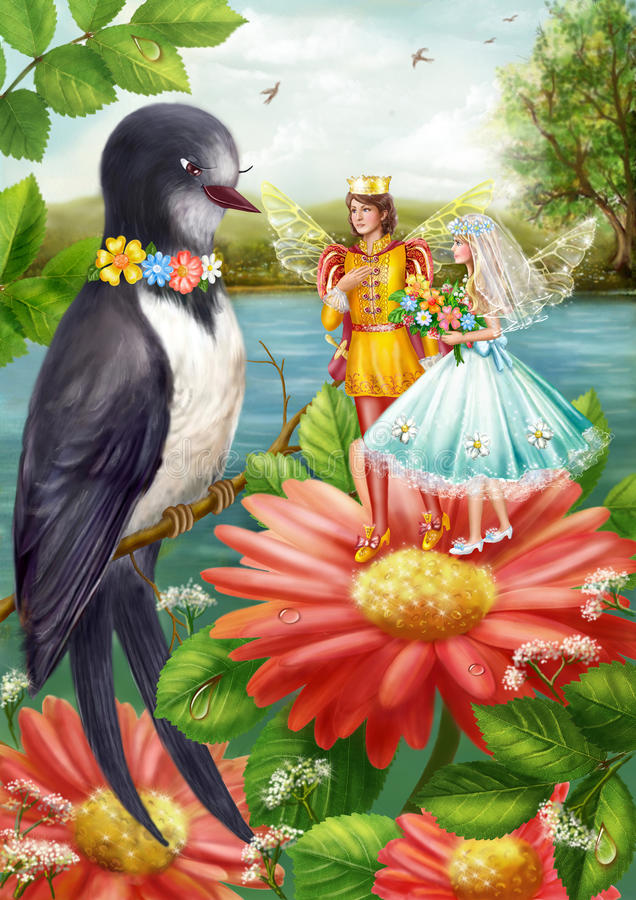 Wedding Thumbelina. Illustration Thumbelina and the swallow. Wedding Thumbelina. Digital painting vector illustration