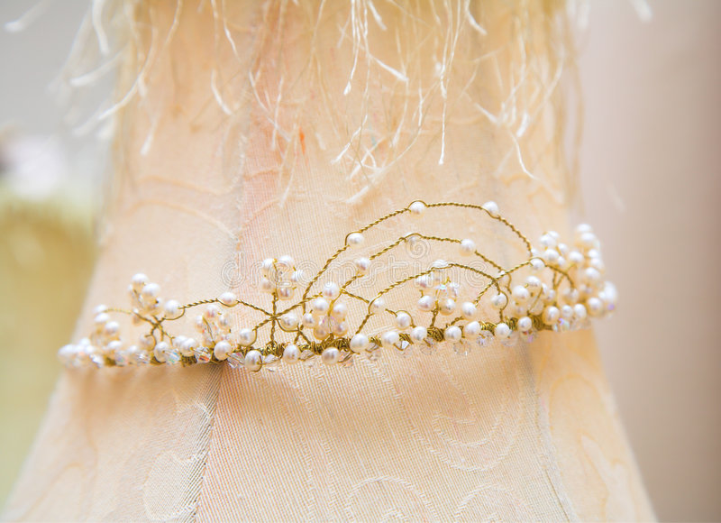 Wedding tiara. Made of delicate bronze wire and river pearls with crystals stock photography