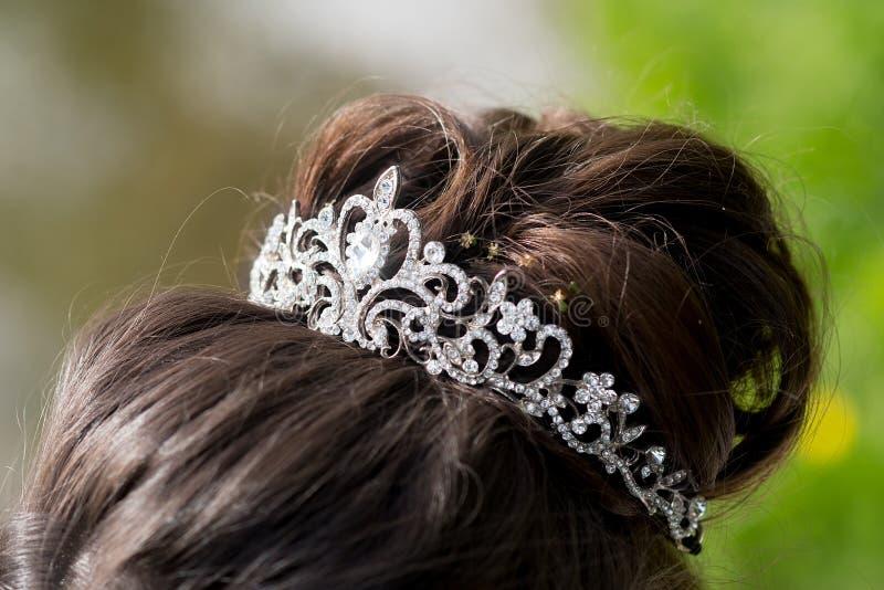 Wedding tiara, diadem. Decorated crystals. Glamour royalty free stock photos