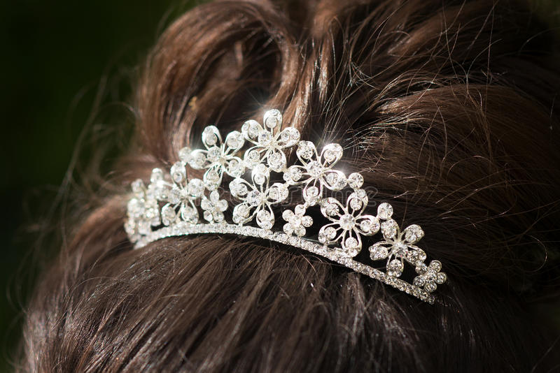 Wedding tiara, diadem. Decorated crystals. Glamour royalty free stock image