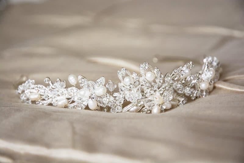 Wedding tiara. Wedding still life with beautiful tiara royalty free stock photos