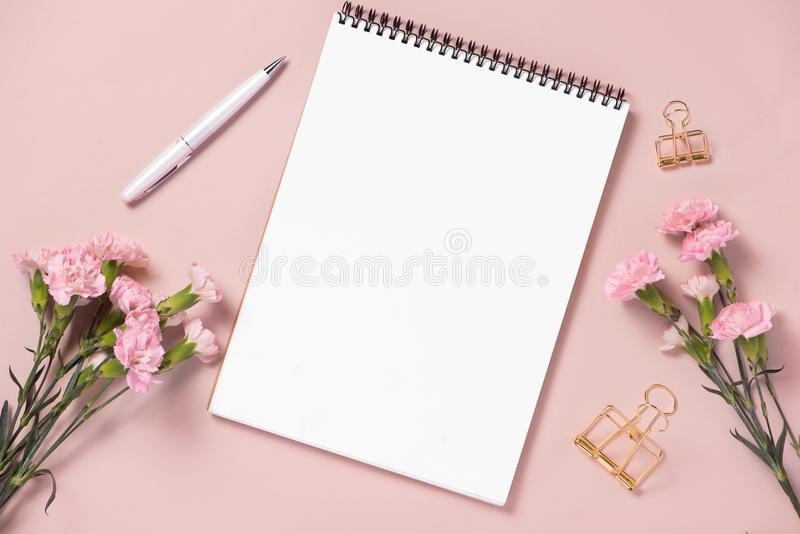 Wedding to do list with flowers. Mockup planner flat lay. royalty free stock images