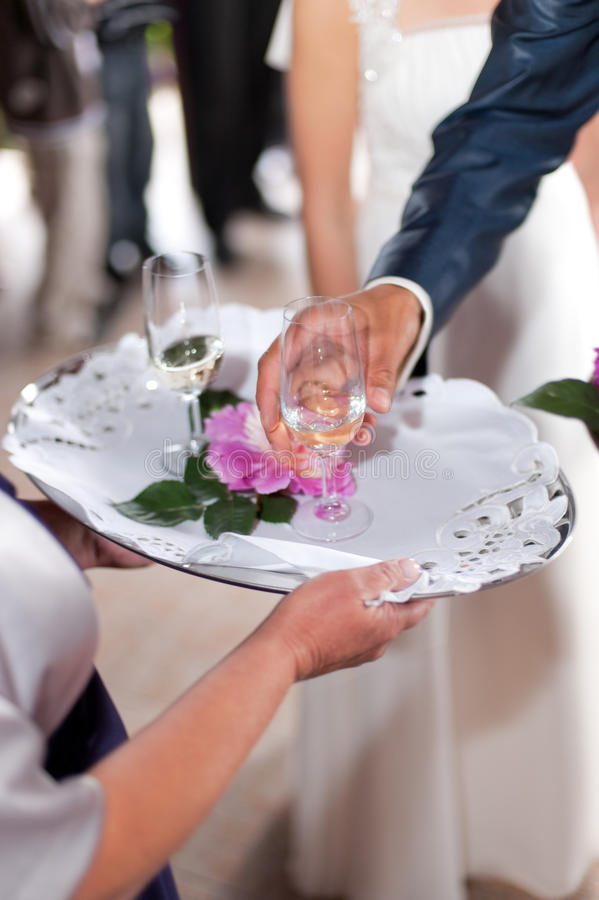 Wedding toast. Traditional polish welcome with glass of champagne stock photography
