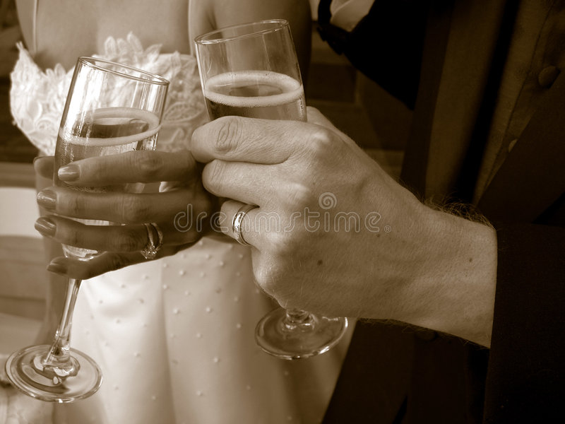 Wedding toast. With champagne glasses
