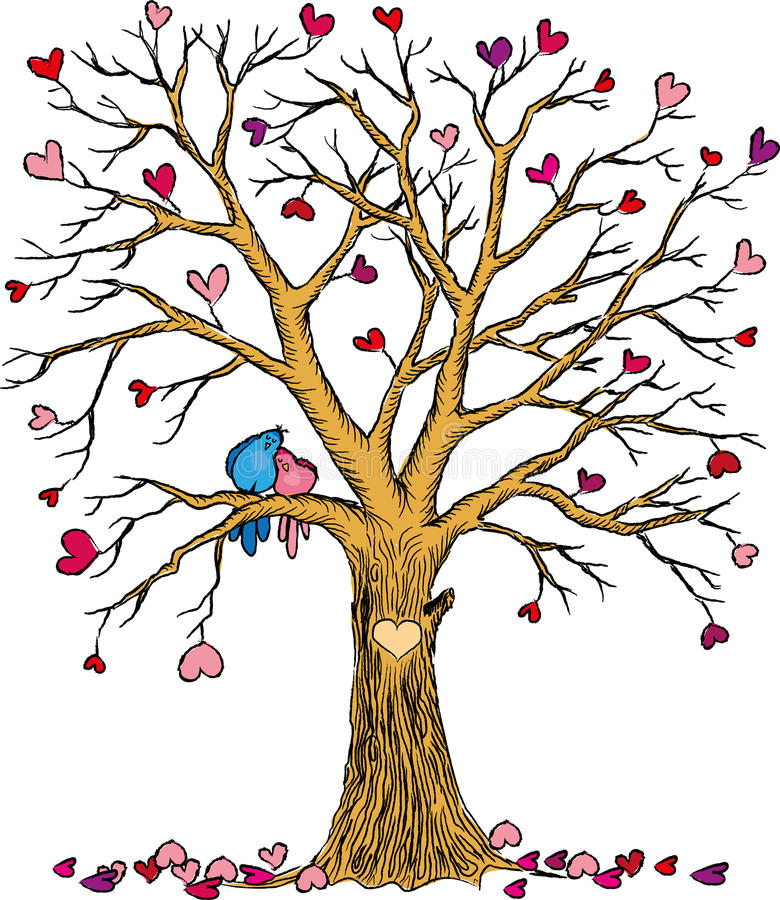 Wedding tree with hearts and birds couple royalty free illustration