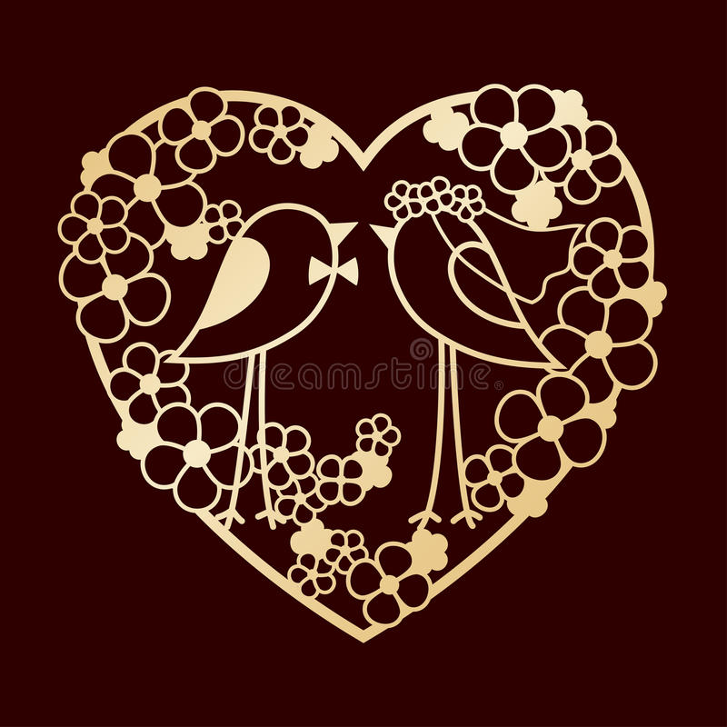 Wedding of two birds among the flowers. Openwork heart wreath of flowers. Laser cutting or foiling template. Wedding of two birds among the flowers. Openwork royalty free illustration