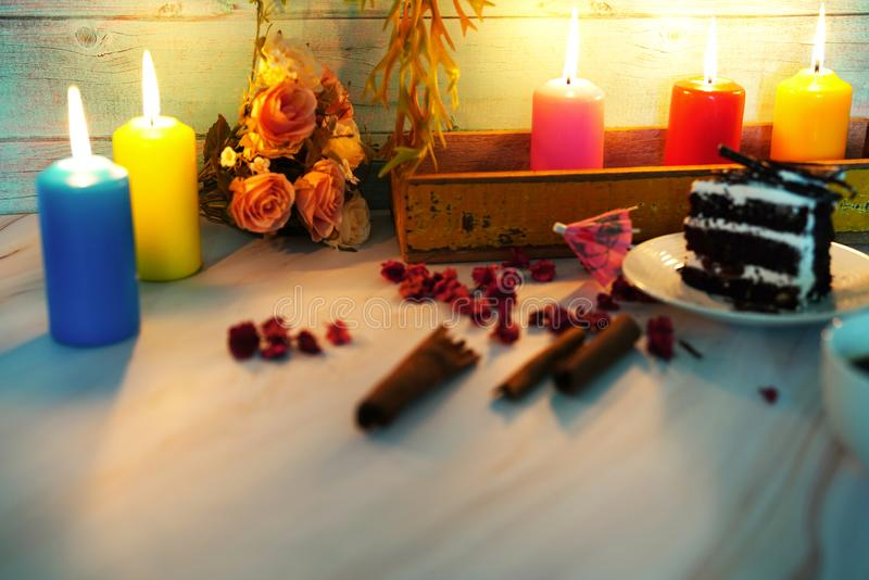 wedding and valentine cake in candle light royalty free stock image