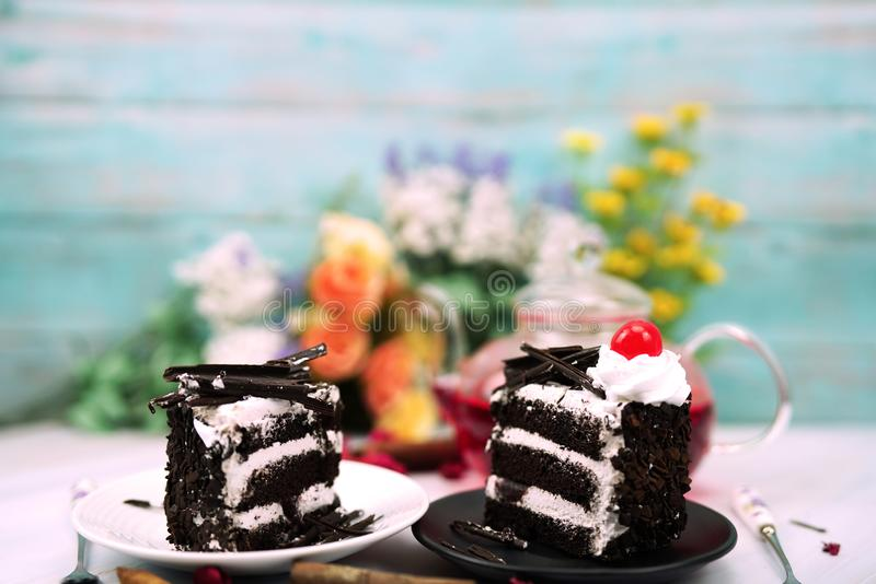 Wedding and valentine cake in soft light royalty free stock image