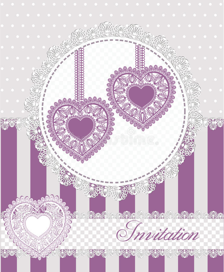 Wedding or valentines day invitation card with lacy hearts.Vector illustration. stock illustration