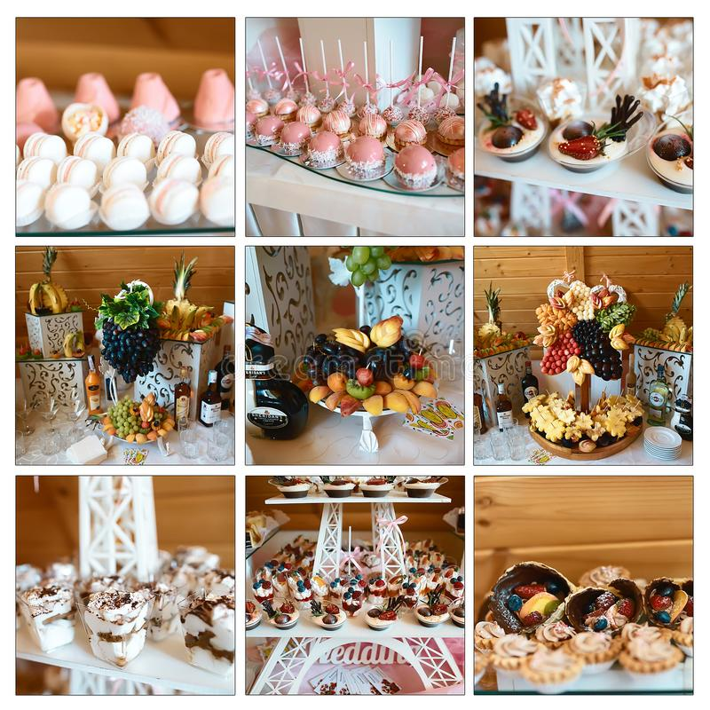Wedding variety dessert sweet muffins, cakes with tasty buffet color decorated with whipped cream, candy bar, buffet, catering foo stock images