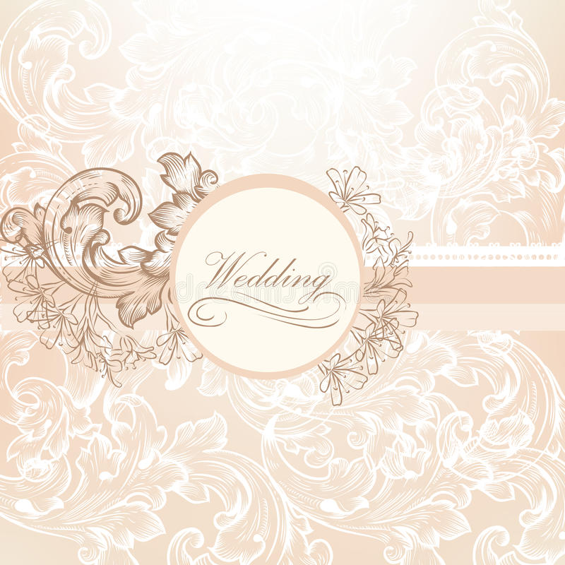 Wedding vector design in vintage style royalty free illustration