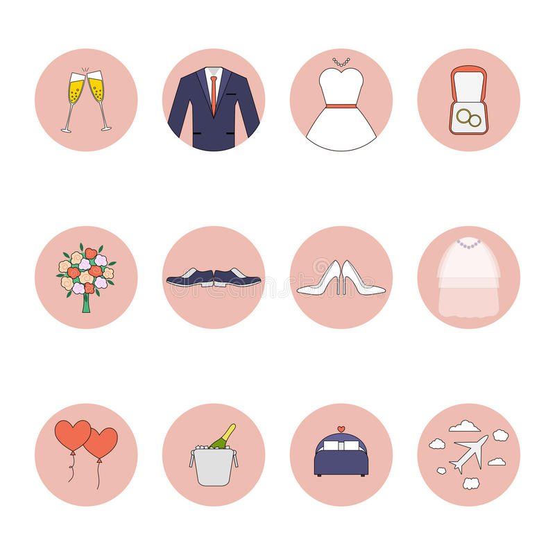 Wedding vector flat icons set. EPS 10 stock photos