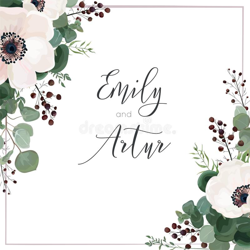 Free Wedding Vector Invite Card, Invitation, Save The Date, Greeting. Floral Design. Light Pink Anemone Flowers, Silver Dollar Stock Image - 134239211