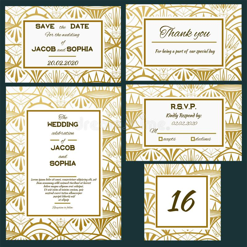 Wedding vector invite card. Ornate art deco vintage design card. Gatsby art deco background. Line art gold geometric royalty free illustration