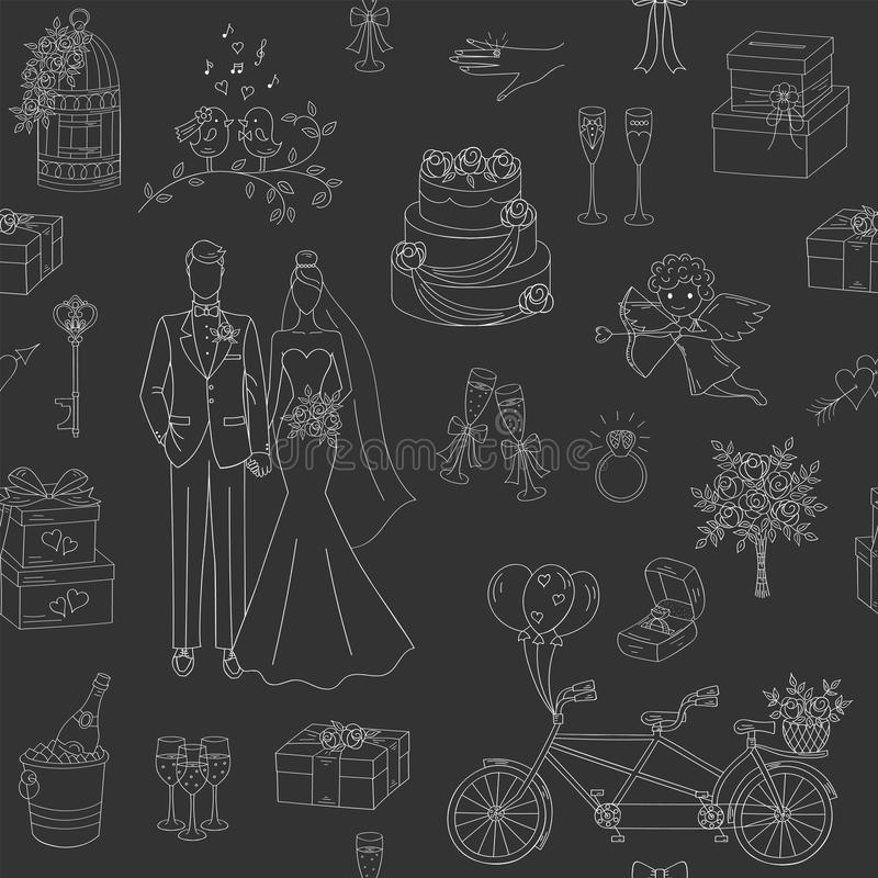 Wedding vector seamless background. With hand drawn icons bride, groom, wedding cake, cupid, bicycle, bouquet, ring, arch, gift box, birdcage and champagne royalty free illustration