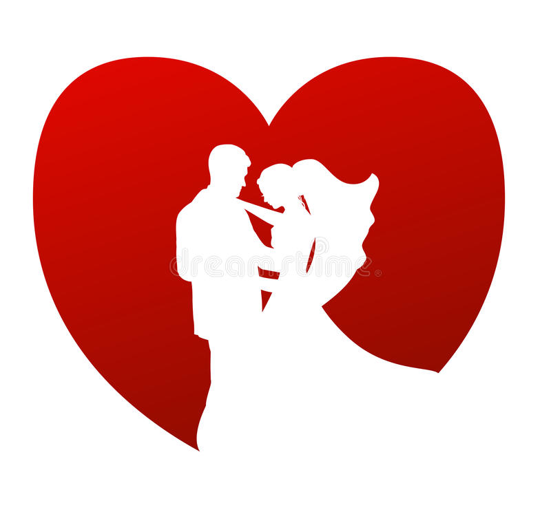 Wedding vector symbol. Vector illustration as symbol or icon for wedding, love, dating, couple living, with silhouette of brides and a heart