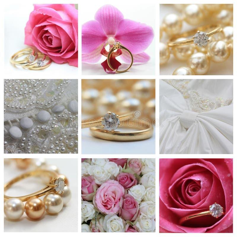 Hochzeitscollage im Rosa lizenzfreies stockbild