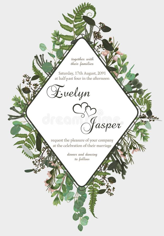 Wedding vertical floral invitation, invite card. Vector watercolor set green forest fern, herbs, brunia, eucalyptus, branches. Boxwood, buxus and chamaelaucium royalty free illustration
